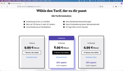 Mozilla VPN Preise Deutschland