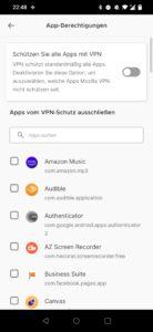 Mozilla VPN 2.4 Android Split Tunneling
