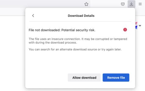 Firefox 93: unsichere Downloads