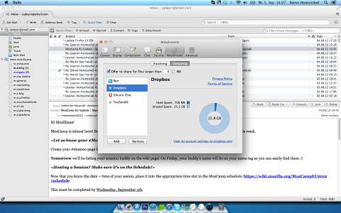 Dropbox für Thunderbird Filelink