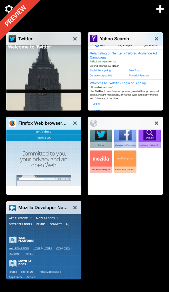 Firefox für iOS Preview
