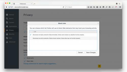 Firefox 43 Tracking-Schutz-Liste